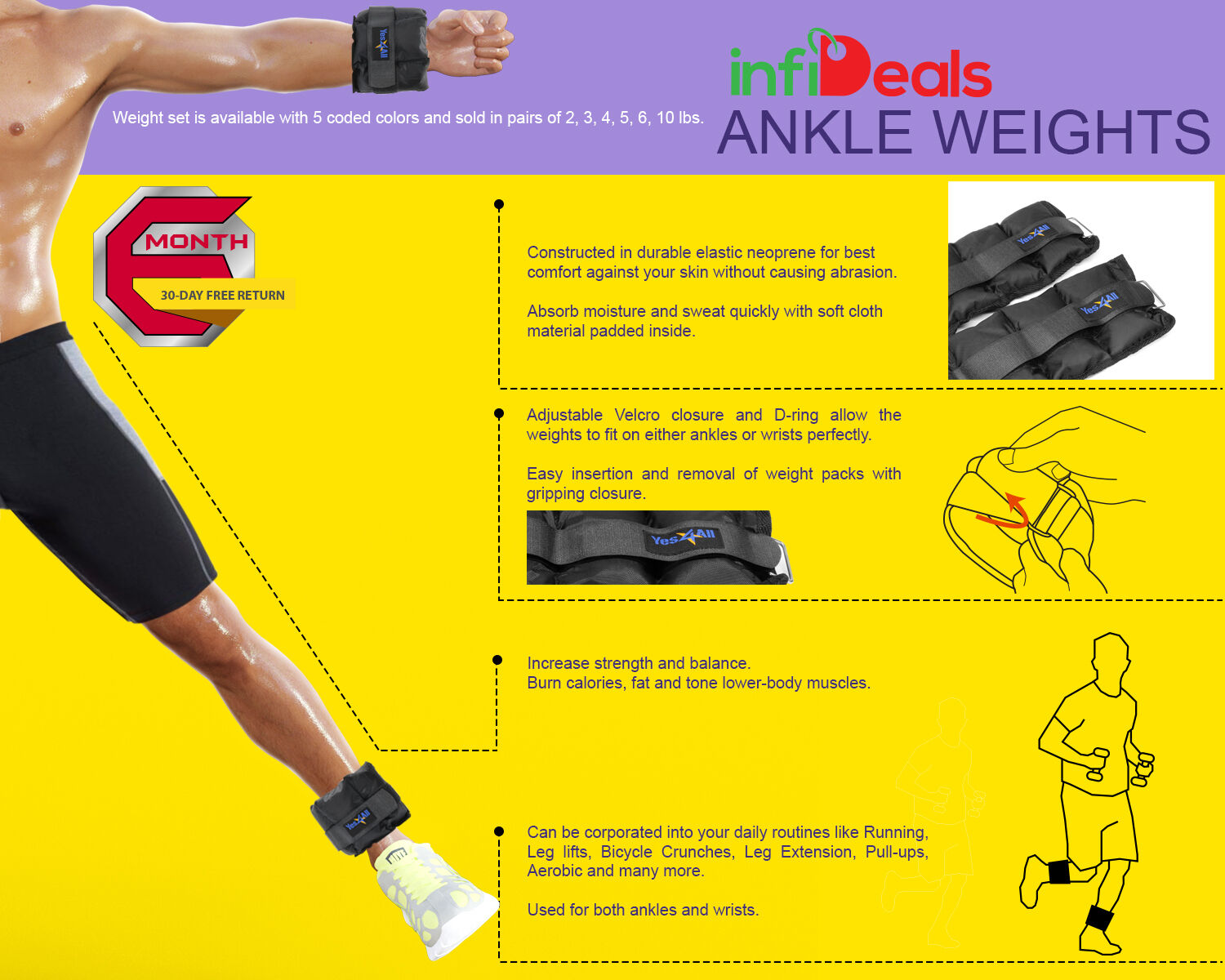 Yes4All Wrist Ankle Weights Comfort Fit Exercise Sets 1 lbs to 5 lbs Pair