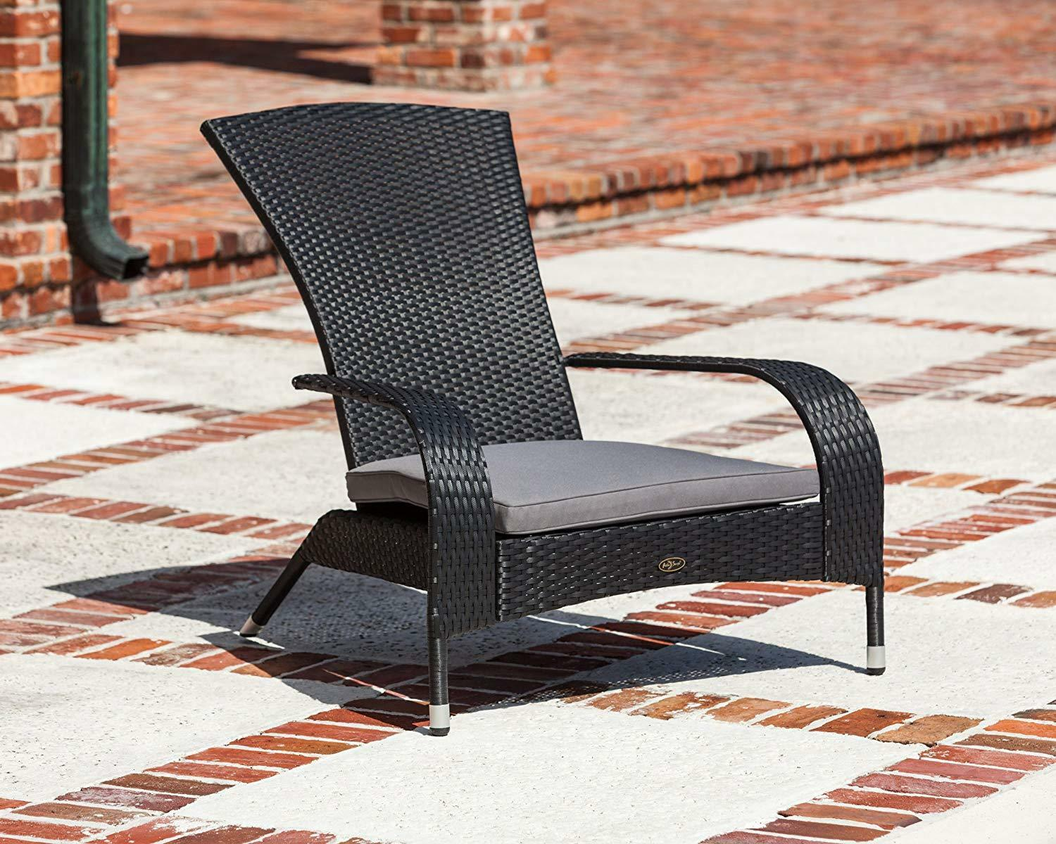 Outdoor Adirondack Chair Weather Resistant with Cushion Blac