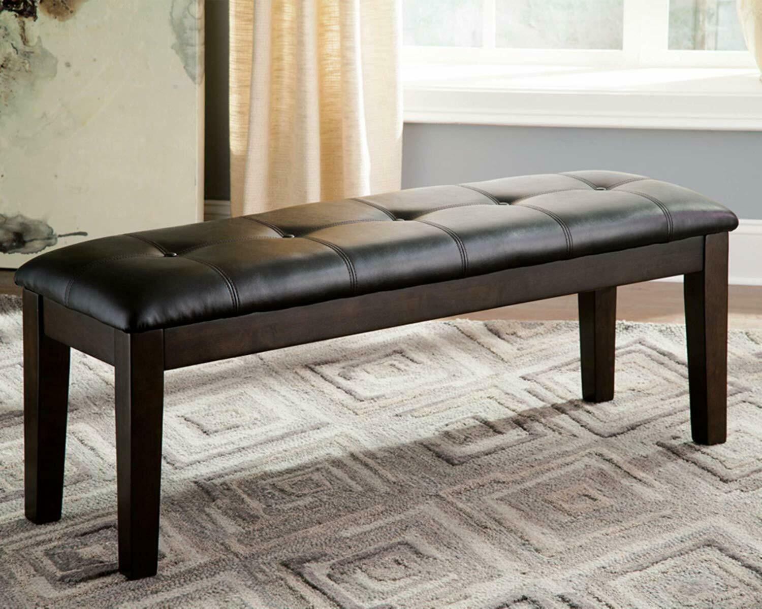 Dining Room Wooden Bench Vinyl Faux Leather Upholstered Casu