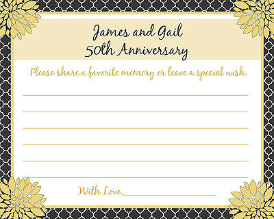 80 - Personalized 50th Anniversary Memory and Wishes Cards - Love Blossoms