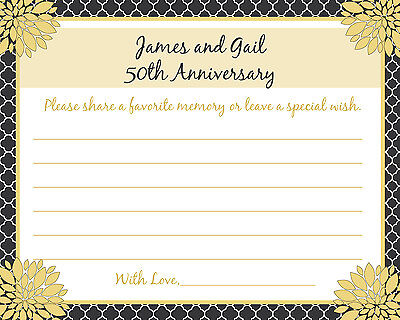 32 - Personalized 50th Anniversary Memory and Wishes Cards - Love Blossoms
