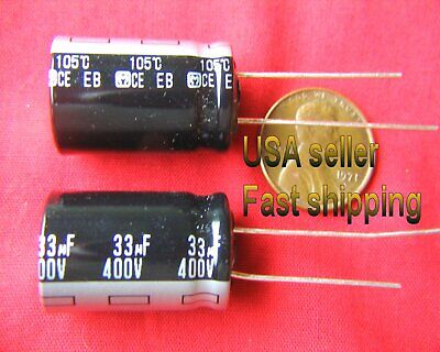 4 pc  -  33uf 400v   radial  electrolytic Panasonic capacitors  FREE SHIPPING