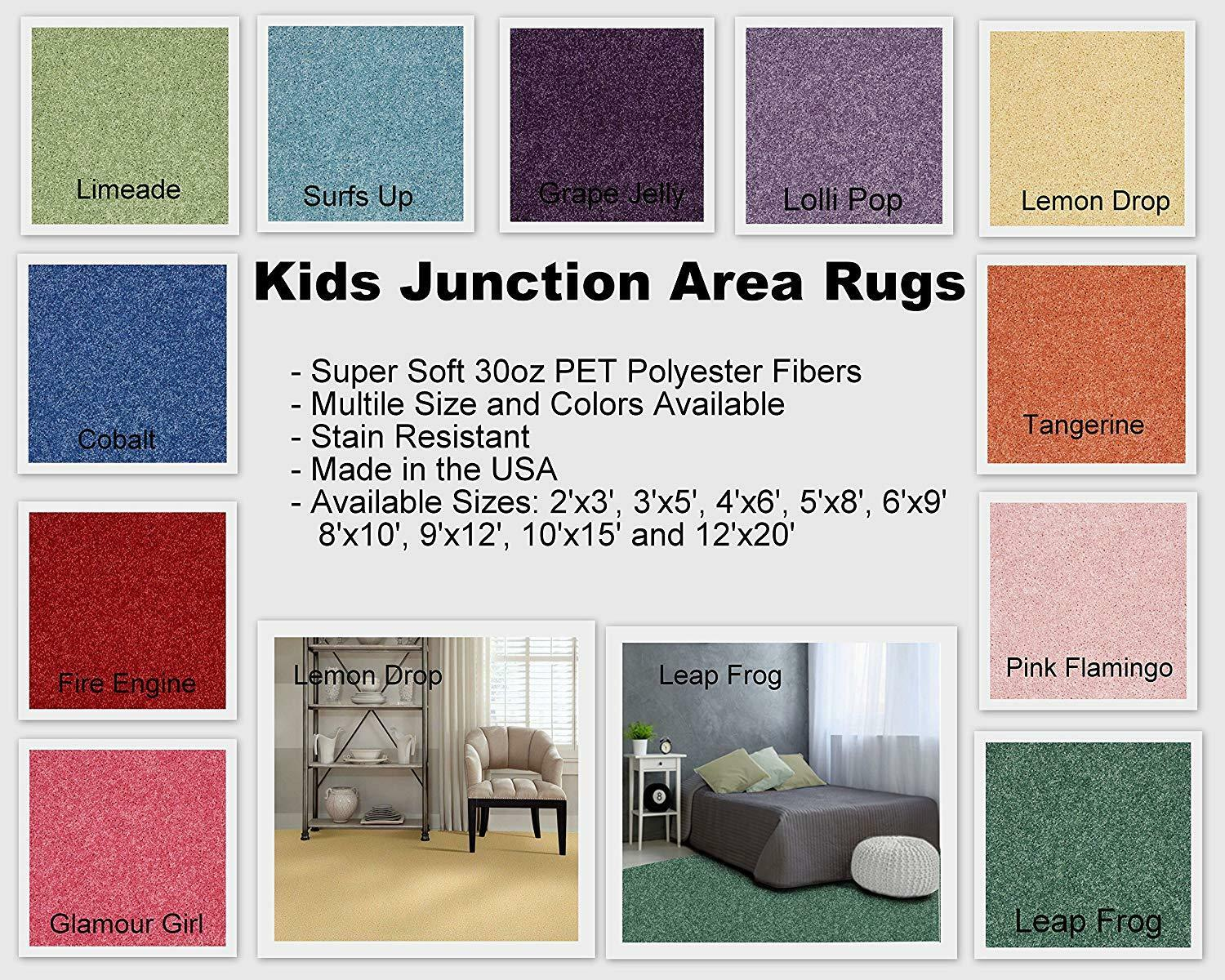 Kids Junction Area Rugs, Many Bright, Vibrant Colors to Choo