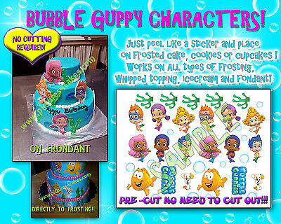 Idea Bubble (Bubble Guppies edible Cake image characters sugar Birthday paper ideas)