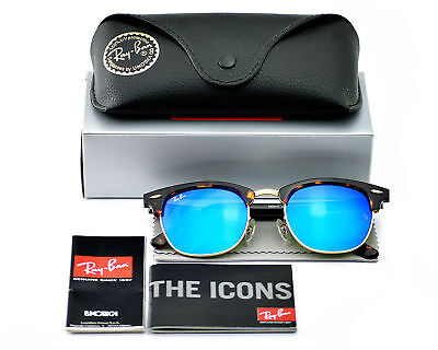 Ray-Ban RB 3016 Clubmaster 1145/17 Tortoise Frame/Blue Mirror Lenses Unisex (51mm Clubmaster)