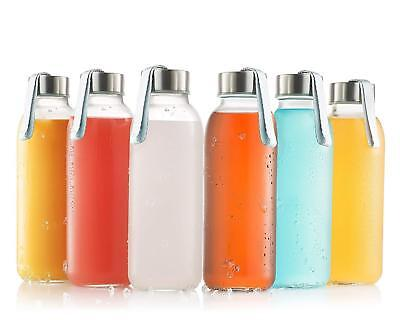 Glass Water Bottle 6 Pack 16oz Bottles with Stainless Steel Caps Carrying Loop