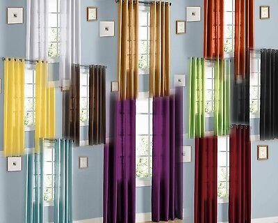 2Pcs. SEMI-Sheer Window Panel curtains SOLID GROMMET PLAIN STYLE DRAPES MIRA  Window Treatment Semi Sheer