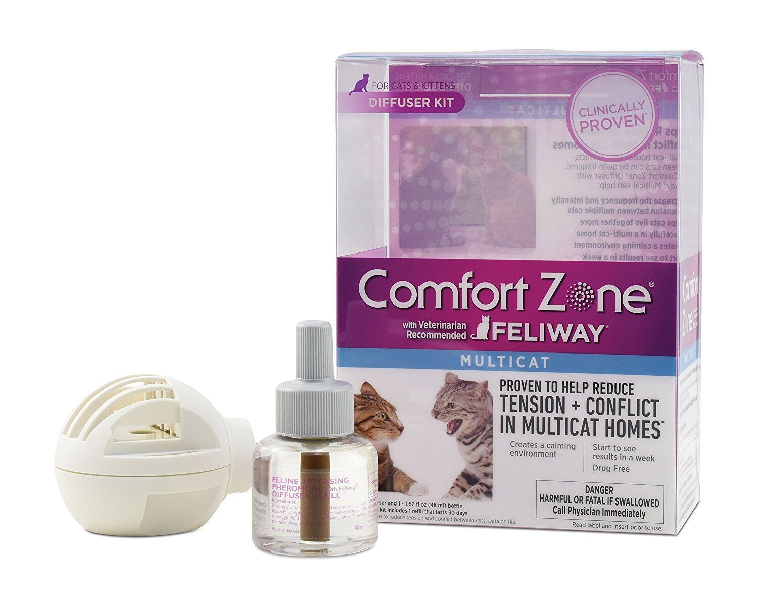 New Comfort Zone with Feliway MultiCat Diffuser Kit Calming 48ml 30day
