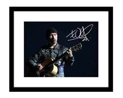 U2 The Edge 8x10 Signed photo print Bono alternative rock concert guitar