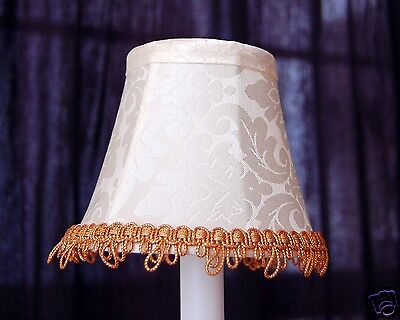 Set of 2 Ivory Color with Gold Fancy Trim Chandelier Clip on