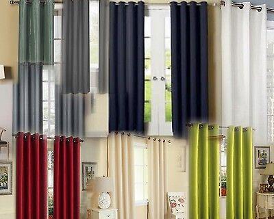 2 PANELS ANTIQUE GROMMETS SILK WINDOW CURTAINS FOAM LINED BLACKOUT ECLIPSE K72