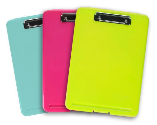 3pk Colorful Storage Document Holder Plastic Clipboard Desk Office Supplies LOT