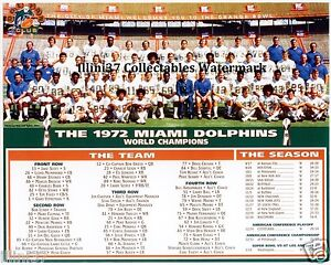 1972 MIAMI DOLPHINS NFL FOOTBALL TEAM 8X10 PHOTO #2