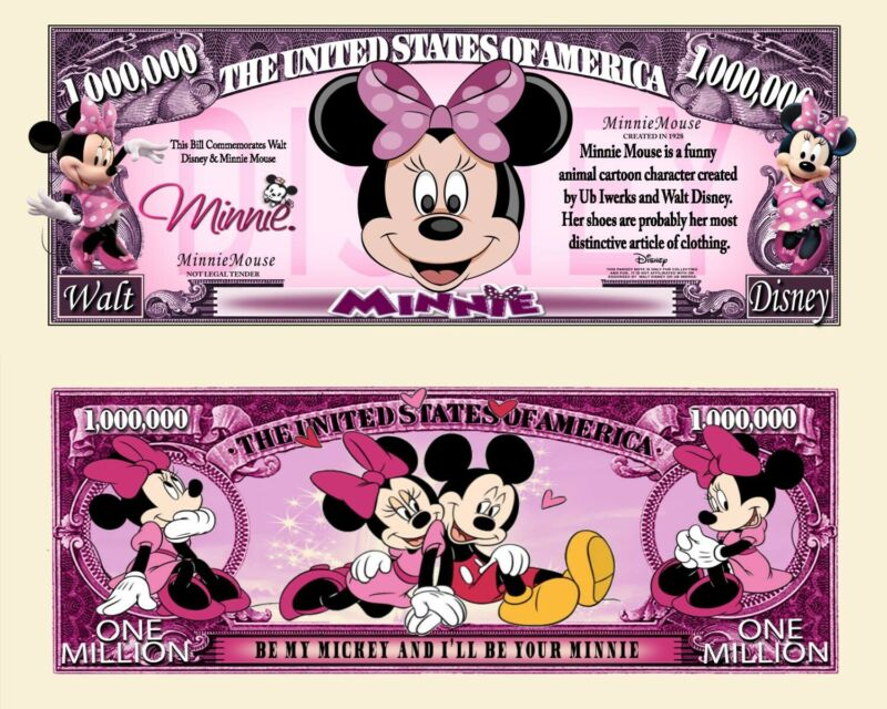 Minnie Mouse Novelty Dollar comes in a Soft Polly Sleeve  Brand NEW