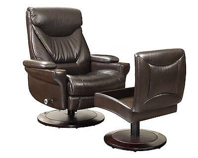 New Barcalounger Cinna 8028 Chestnut Leather Pedestal Recliner Chair and Ottoman Chestnut Leather Recliner