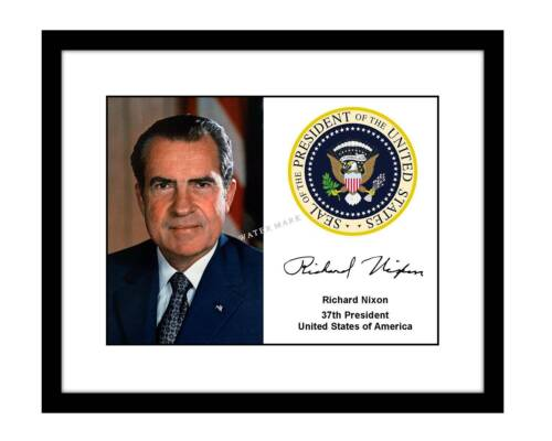 Richard Nixon 8x10 Signed Photo Portrait US president seal autographed gop