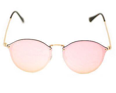 Ray-Ban RB3574N Blaze Round 001/E4 Gold Frame/Pink Mirror Lenses Unisex (Ray Ban Round Pink Gold)