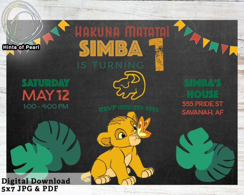 Lion King Colorful Birthday Invite Simba First Bday Invitation Digital Download