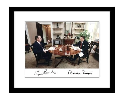 Ronald Reagan 8x10 Photo Print George H.W. Bush Signed Autographed President
