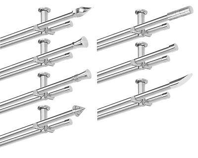 Gardinenstange Set Deckenmontage 2 läufig, 20 mm Ø, Edelstahl-Optik Decke