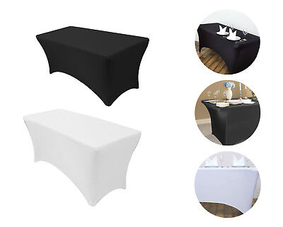 Wedding Table Cover White/Black Rectangular Fitted Stretch Party
