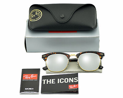 Ray-Ban RB3016 CLUBMASTER FLASH LENSES 1145/30 Tortoise Silver Sunglasses (Cheap Ray Ban Clubmaster Glasses)