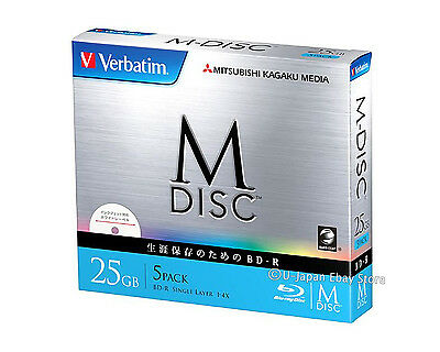 5 Pack Verbatim M-Disc BD-R 25GB Bluray 4x Inkjet Printable 1000 Years Archival