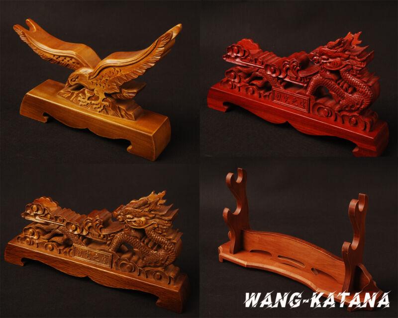 Dragon / Eagle Engravd Wooden Stands Display Holder For Japanese Katana Swords