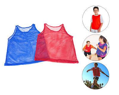 Youth Practice Team Jerseys Mesh Scrimmage S-M Sport Training Vest Red Blue (Mesh Scrimmage Vest)