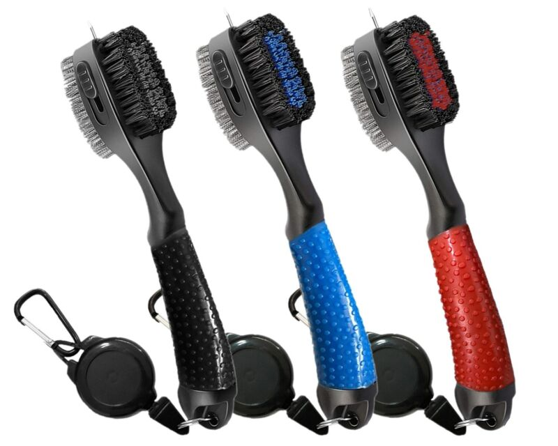 New Style Golf Brush and Club Groove Cleaner - Easily Attaches to Golf Bag