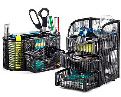 Halter Steel Mesh 2 Piece Desk Organizer Set - Oval Desk Supply Caddy And 3