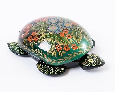 Russian Lacquer Box Turtle Shape Artist Signed Flowers Butterfly 4.5