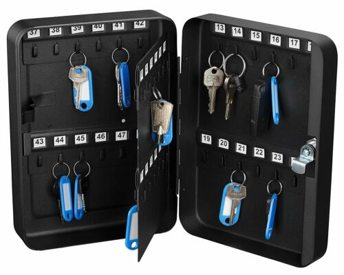 AdirOffice 48 Keys Solid Steel Safe w/ Tags Storage Key Cabinet Box