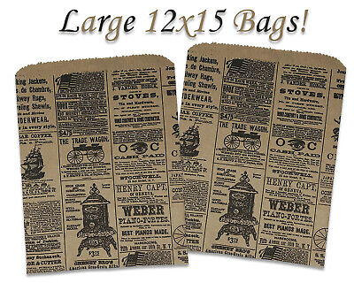 50 Vintage Newspaper Print 12x15 Kraft Bagsvintage Style Newsprint Craft Bags