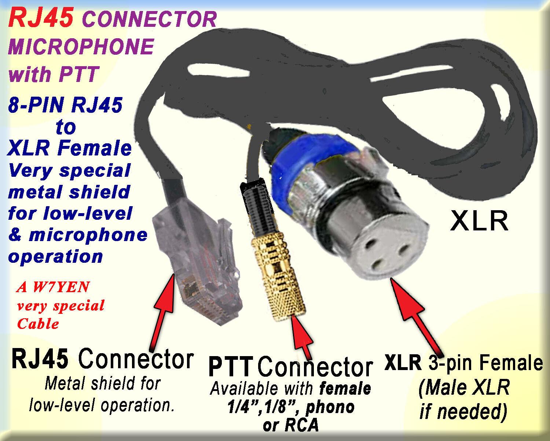 Details About Yaesu Kenwood Icom Or Cable Rj45 Rj12 Microphone Mic Ptt Xlr Female M