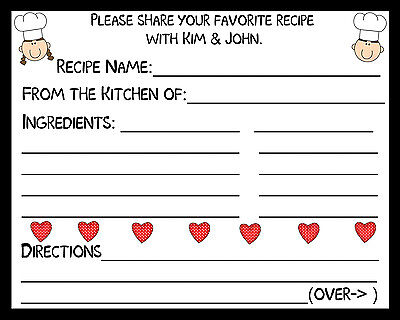 50 Recipe Cards Personalized for Bridal Shower - Red Hearts - Recipe Cards For Bridal Shower