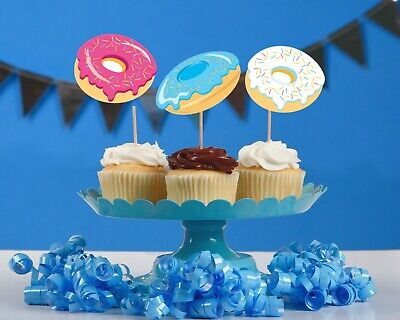 Donut theme party decorations cupcake toppers birthday baby shower set of - Baby Shower Cupcake Decorations