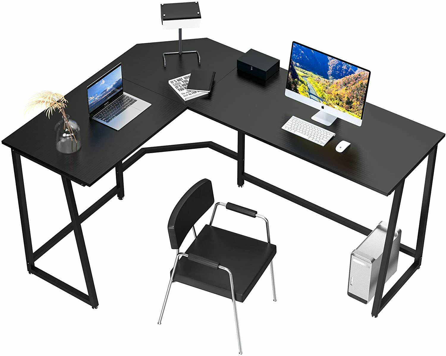 L Shape Computer Desk, (57.9+44.1)'' Home Office Corner Desk Height Adjustable