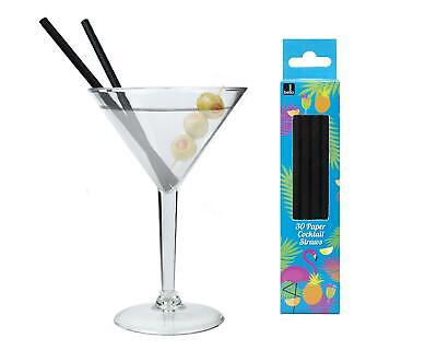 Martini Cocktail Glasses Set Clear Plastic Cup Black Paper Straws Party BBQ](Martini Plastic Cups)