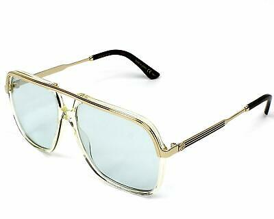 Authentic Gucci Sunglasses GG0200S 005 57mm Yellow-Gold / Light Blue (Gucci Light Blue)