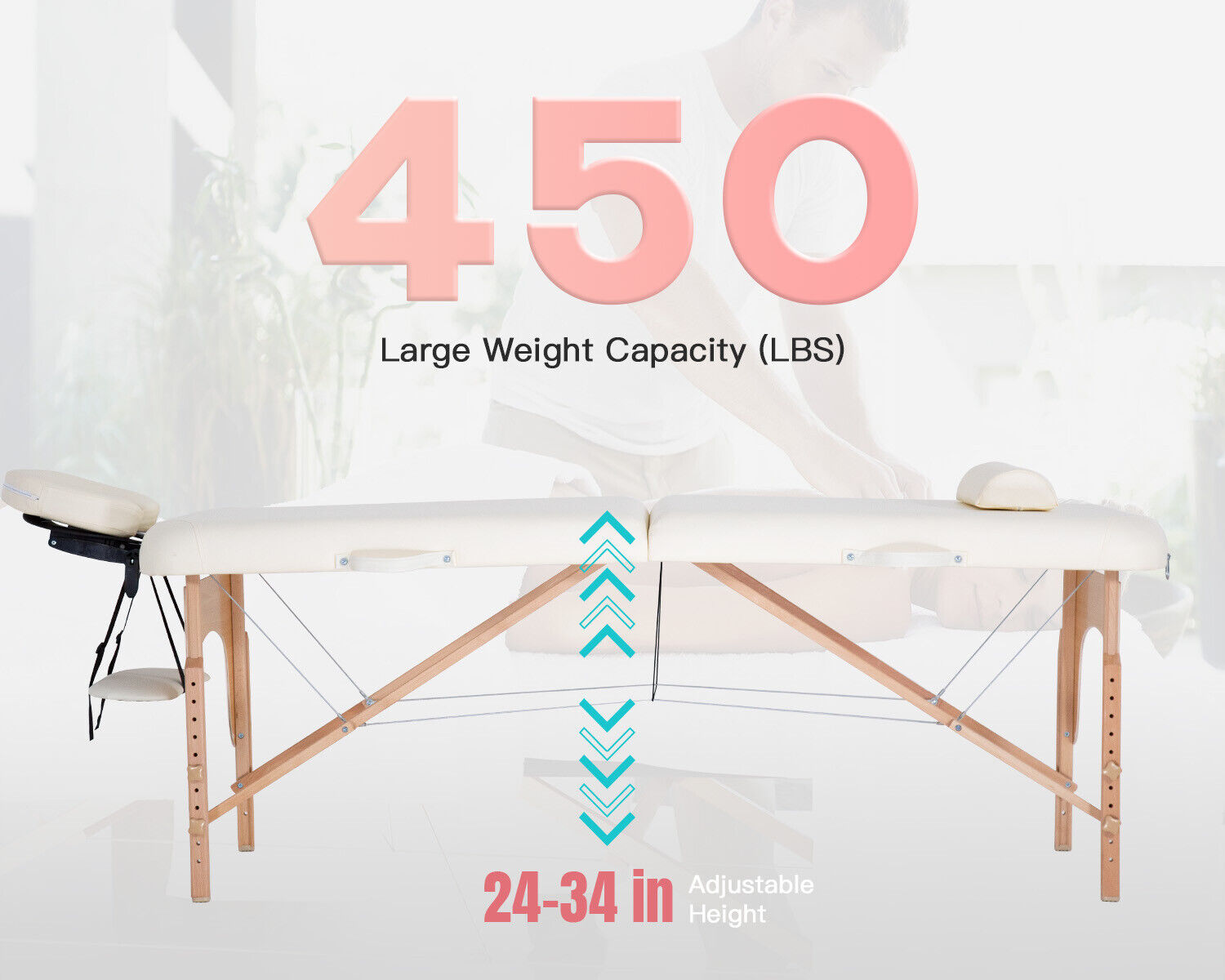 """Portable Massage Table Massage Bed Spa Bed 73"""" L 28""""W Height Adjustable Massage Health & Beauty"""