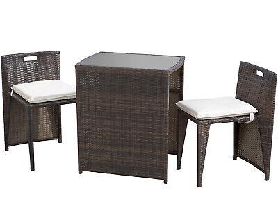 Patio Set 3 Pieces Outdoor Wicker Patio Furniture Sets Wicker Bistro Set Rattan Home & Garden