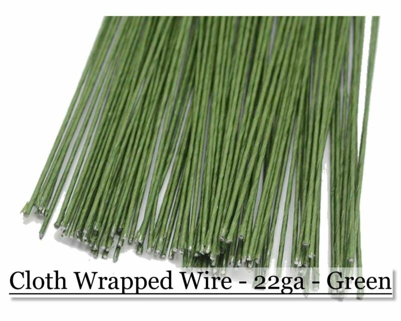 Cloth wrapped wire 22ga - Green