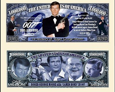 Roger Moore 007 Novelty Dollar Plus Semi Rigid Protector   Free Shipping New