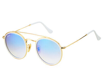 Ray-Ban RB3647N Round Double Bridge Gold Frame/Blue Gradient Flash Lenses (Ray Ban Round Double Bridge Gold)