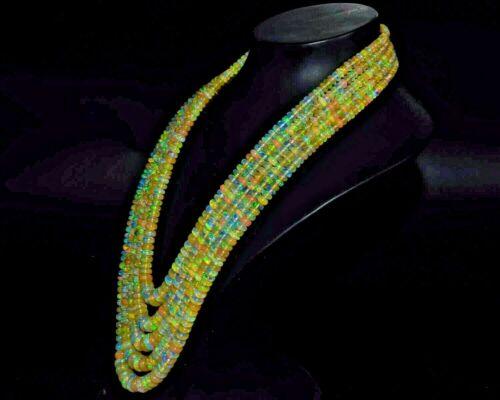 "GTLCertifd 100%Natural Ethiopian Opal Gemstone Wello Fire Opal Beads 16""Necklace"
