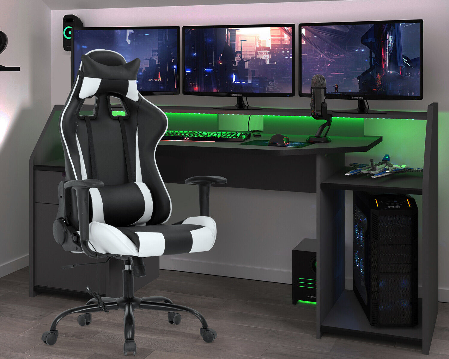 Gaming Chair Office Chair Racing Chair Massage PU Leather Rolling Swivel Task Business & Industrial