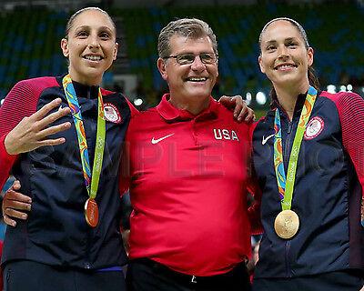 DIANA TAURASI GENO AURIEMMA & SUE BIRD USA 2016 OLYMPIC BASKETBALL 8X10 PHOTO