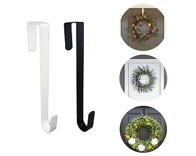 Blank Door Hangers (Black White Metal Over the Door Hook Wreath Door Hanger Organizer Towel Hook)