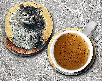 Louis Wain Cat Lover Gift Round 4 pc Coaster Set Cork Backing, 3.75